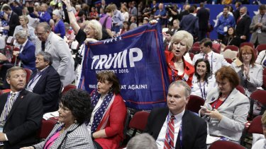 Trump supporters cheer during first day of the Republican National Convention.