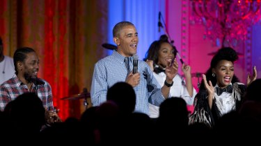 """Obama, joined by Kendrick Lamar and Janelle Monae, sings """"Happy Birthday"""" to his daughter Malia."""