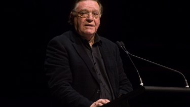 Bryan Dawe spoke at the memorial for John Clarke at Melbourne Town Hall.