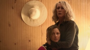 Jamie Lee Curtis and Judy Greer in the latest Halloween.