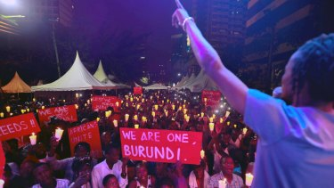 Burundians living in Kenya hold a vigil on December 20 to call for an end to killings in Burundi.