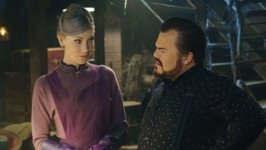 Cate Blanchett, left, and Jack Black in The House With A Clock in Its Walls.