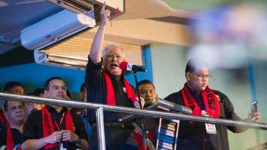Malaysian Prime Minister Najib Razak speaks during the December 4 Kuala Lumpur rally for Rohingyas.