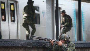 A Brazilian soldier during a counter-terrorism drill in Rio.