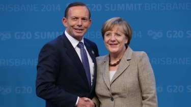 Prime Minister Tony Abbott with German Chancellor Angela Merkel at the G20 in November.