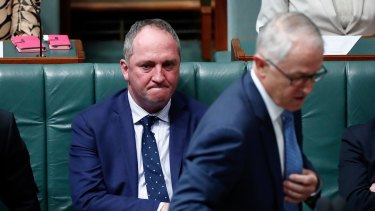 Prime Minister Malcolm Turnbull and Deputy Prime Minister Barnaby Joyce during question time on Wednesday.