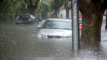 Several cars were swamped due to the flooding.