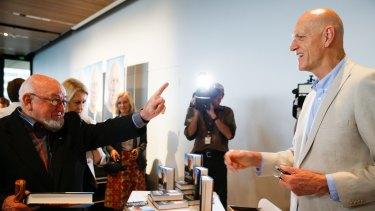 Peter Garrett with Thomas Keneally at the launch of Garrett's book, <em>Big Blue Sky</em>, at the MCA in Sydney.