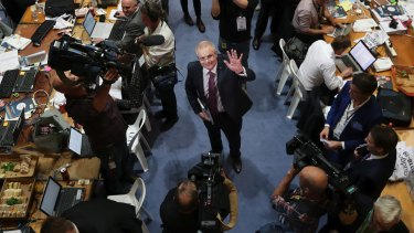 Treasurer Scott Morrison looks up to the cameras after delivering his third budget.