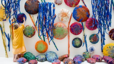 Sheila Hicks' The Embassy of Chromotic Delegates, 20th Biennale of Sydney, at Art Gallery of NSW.