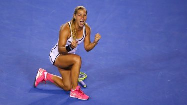 Dominika Cibulkova celebrates her win.