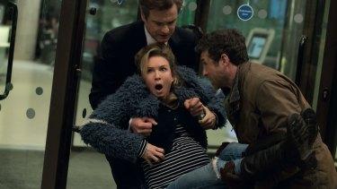 Manhandled: Colin Firth, Renee Zellweger and Patrick Dempsey in <i>Bridget Jones's Baby</i>.