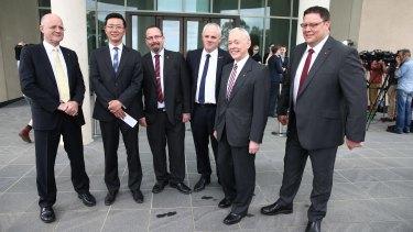Liberal Democrat David Leyonhjelm with other crossbench senators Dio Wang, Ricky Muir, John Madigan, Bob Day and Glenn Lazarus.