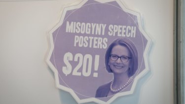 'Misogyny speech' posters are also on sale.