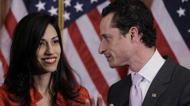 Anthony Weiner and his estranged wife, Huma Abedin.