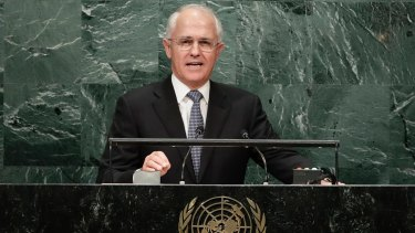 Mr Turnbull speaks during the 71st session of the United Nations General Assembly in New York earlier this week.