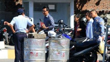 Family and friends of Andrew Chan cross to Nusakambangan island on Monday.