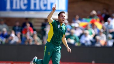 Early scalps: Kyle Abbott dismissed Aaron Finch and David Warner in his opening two overs.