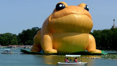 Beijing's 22-metre inflatable toad by Guo Yongyao has been compared to former president Jiang Zemin.
