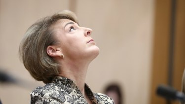 Minister for Employment Michaelia Cash during a Senate estimates hearing at Parliament House in Canberra on Thursday.