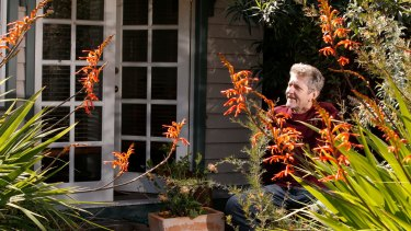 In balance: Jim Buckell outside his home study.
