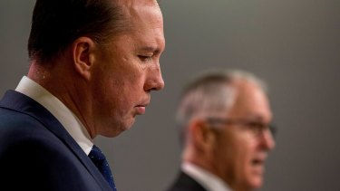 Immigration Minister Peter Dutton announcing the proposed changes to refugee immigration laws with Malcolm Turnbull.