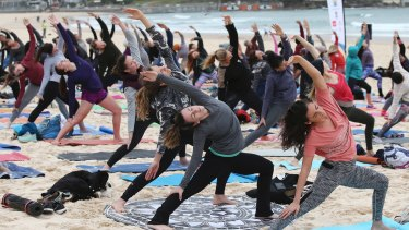 International Yoga Day at Bondi Beach in Sydney.