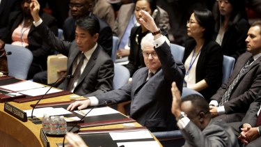 Russian Ambassador to the United Nations Vitaly Churkin, centre, votes in favour of the resolution.