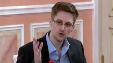 US intelligence leaker Edward Snowden speaking during a dinner with US ex-intelligence workers and activists in Moscow in late 2013.