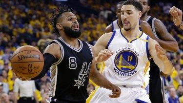 San Antonio Spurs' Patty Mills has some thinking to do about his next move. (AP Photo/Marcio Jose Sanchez)