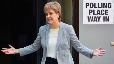 Scotland's First Minister Nicola Sturgeon casts her vote in the EU referendum at Broomhouse Community Hall in Glasgow.