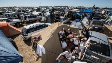 Festival fans set up their camp sites at the relocated event at Mt Duneed, just outside Geelong.