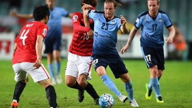 Rhyan Grant of Sydney FC takes on the Urawa Red Diamonds defence at their Asian Champions League clash last month.