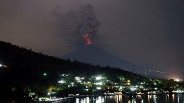 Mount Agung volcano erupting in Karangasem, Bali.
