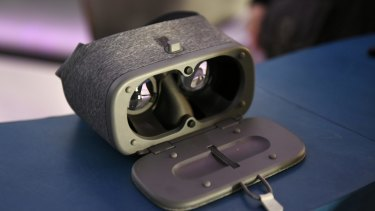 The Daydream View headset that pairs with the Pixel phones for a VR experience.