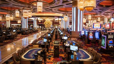 Gaming tables at the Studio City casino resort, owned by Melco Crown.