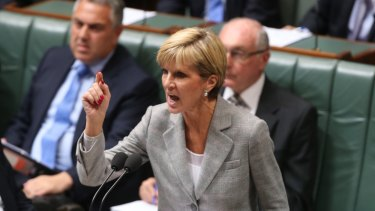 Foreign Affairs Minister Julie Bishop during question time.