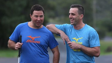 Nathan Johnston, left, and Nathan Shoemark train in Helensburgh ahead of the half-marathon.