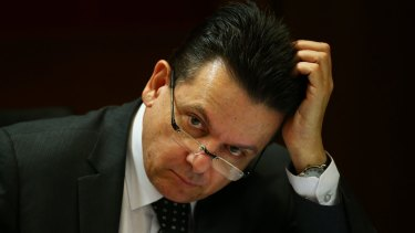 Senator Nick Xenophon during a Senate inquiry into corporate tax avoidance.