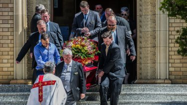 The funeral at St Christophers Catholic Church in Griffith for Kate Goodchild and Luke Dorsett.