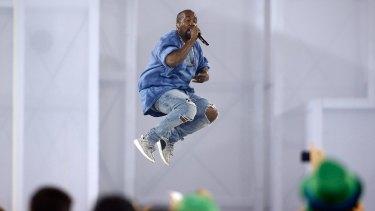 Kanye West performing.
