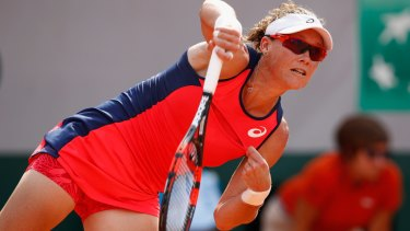 Sam Stosur spoke after her first-round victory at the French Open.