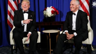 Allies: Donald Trump and Malcolm Turnbull in New York.