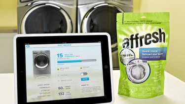 Whirlpoo's smart washing machine connects via Wi-Fi, can be stopped or started remotely, and pings your phone when its detergent is low.