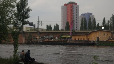 Looking at the development site from the other side of the Spree River.