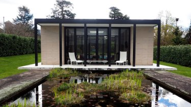 The modernist pool pavilion.
