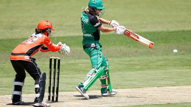 Meg Lanning of the Stars hits a boundary during the Women's Big Bash League match between the Perth Scorchers and the Melbourne Stars at Toorak Park.