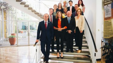 The newly elected Labor team in the ACT parliament, with Chief Minister Andrew Barr and Deputy Chief Minister Yvette Berry, and ministers Mick Gentleman and Meegan Fitzharris in the front row.