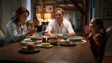 Amy Seimetz as Rachel, Hugo Lavoie as Gage, Jason Clarke as Louis and Jete Laurence as Ellie in Pet Sematary.