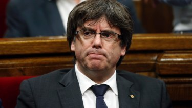 Catalonia's president Carles Puigdemont said it was up to the Catalan parliament to move forward with a mandate to break from Spain.